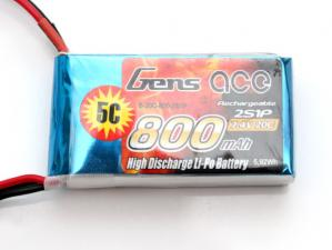 Gens Ace 800mAh 7.4V 20C 2S1P Lipo Battery Pack